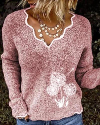 Fashion V-Neck Knit Dandelion Sweaters