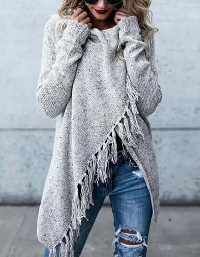 H-line Long Sleeve Plain Knitted Cardigan