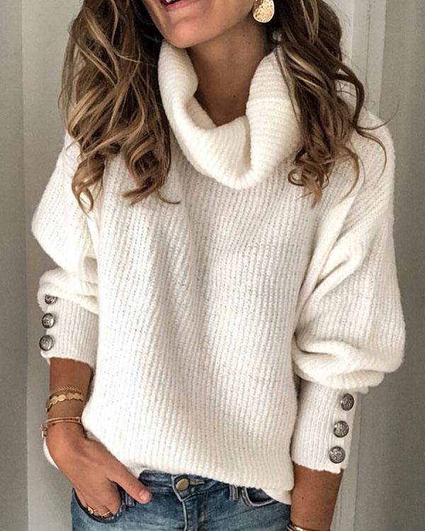 Plus Size Long Sleeve Plain Casual Sweater