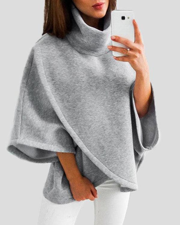 Chimney Collar Flared Sleeves Irregular Hem Sweater Tops