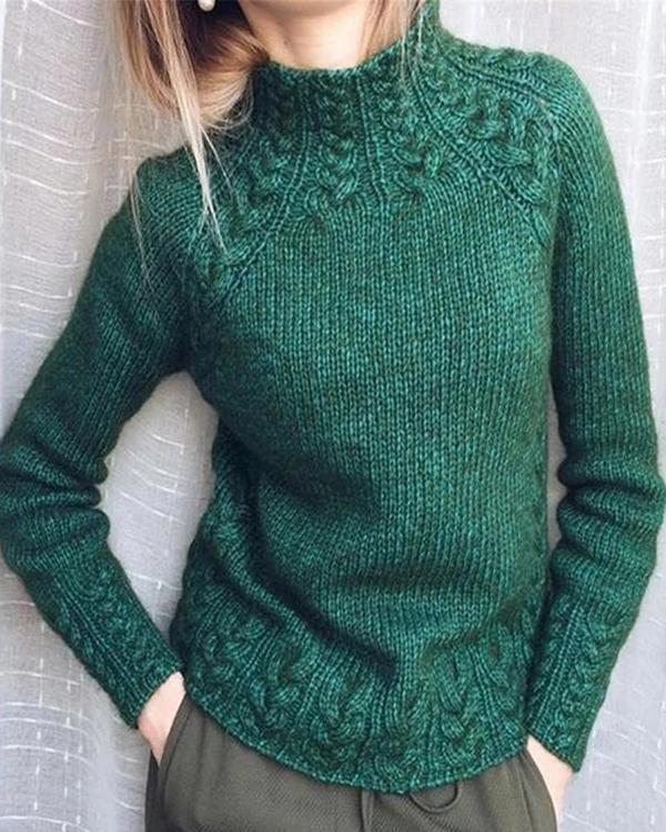 Turtleneck Solid Color Vintage Sweaters