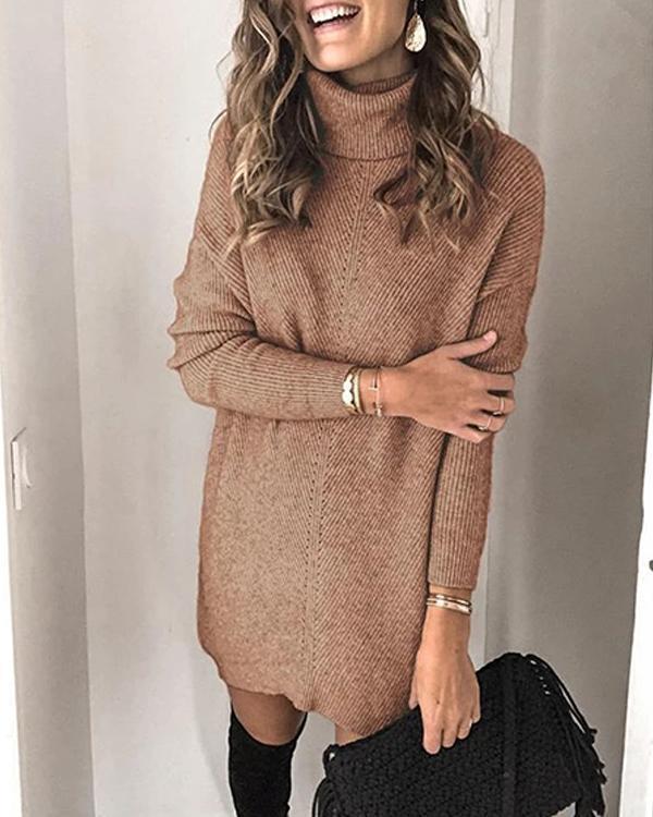 High Neck Pullover Long Sleeve Dress