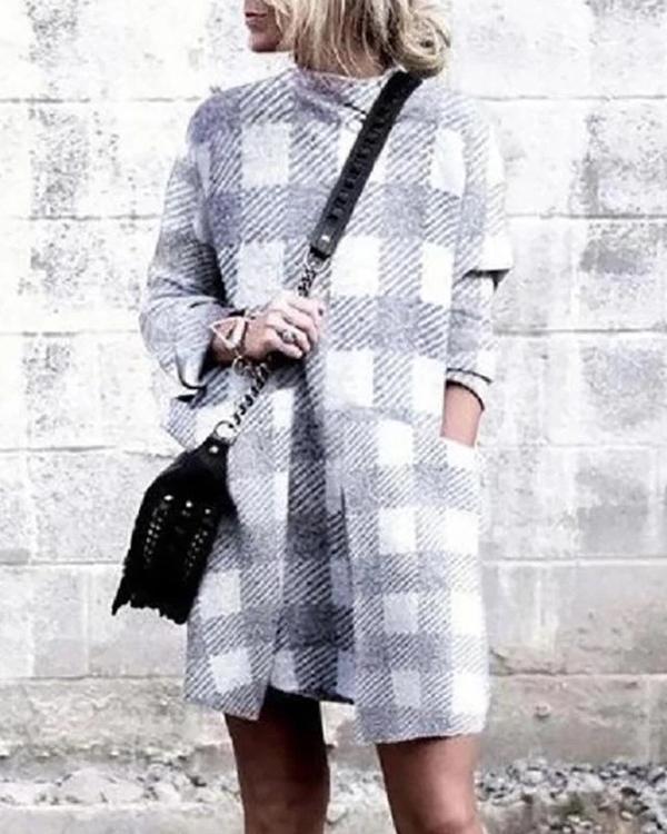 Autumn Plaid Long Sleeve Dress
