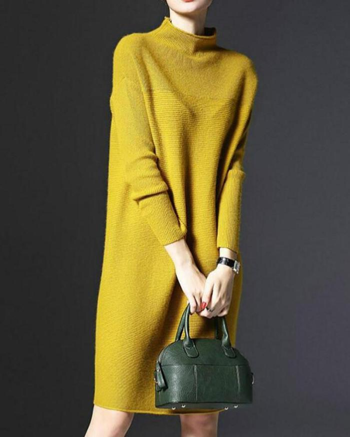Stand Collar A-line Women Daily Knitted Casual Long Sleeve Knitted Solid Casual Dress