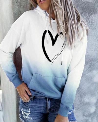 Women Casual Ombre Heart Print Hoodie Sweatshirt