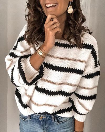 Stripe Leisure Long Sleeve Sweater Coat Round Collar Tops