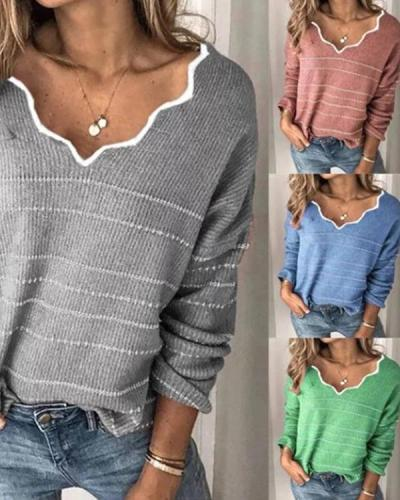V-Neck Long Sleeve Striped Casual Sweaters
