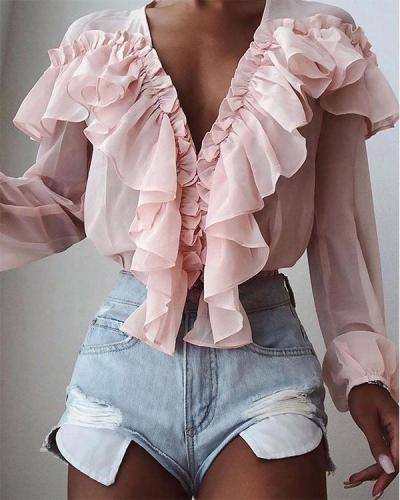 V-neck Pleated Chiffon Ruffled Long-sleeved Shirt Loose Top
