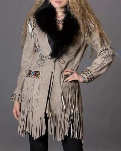 Fashion Winter Boho Tassel Coat