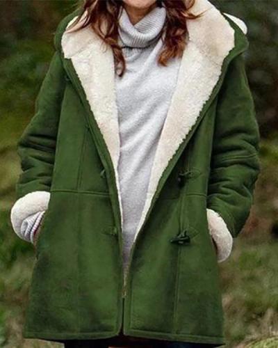 Women's Winter Button Hooded Plush Coats
