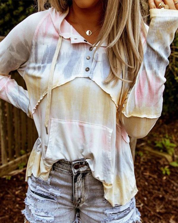Multicolor Color-Block Cotton Patchwork Long Sleeve Shirts & Tops