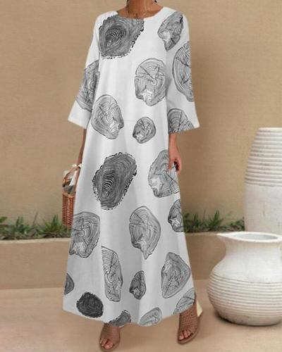 Casual Printed O-neck Side Pockets 3/4 Length Sleeve Maxi Dress