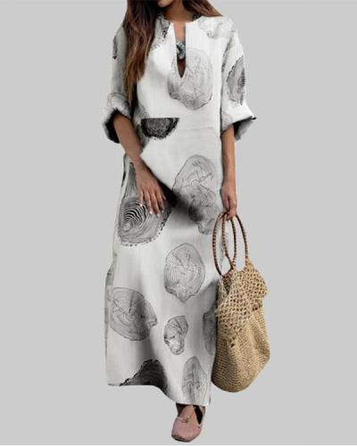 Casual Printed 3/4 Sleeve Loose Maxi Dress