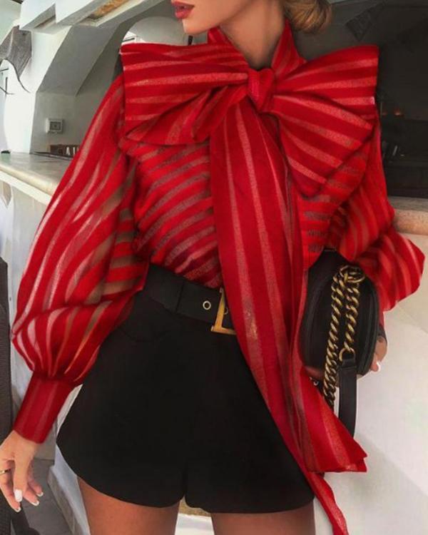 Women's Fashion Bow Mesh Gauze Striped Top