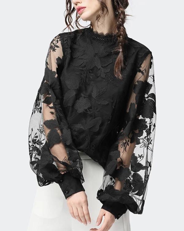 Lace Puff Sleeve Transparent Round Neck Shirt