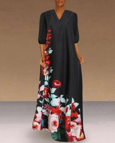 Fashion Women Casual Plus Size V-Neck Flower Print Half Sleeve Loose Maxi Dress