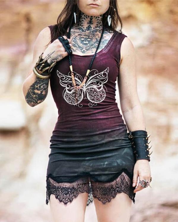 Women's Sexy Lace Panel Butterfly Print Dress
