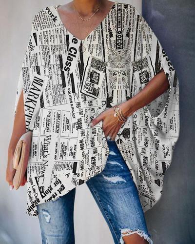 Alphabet Fashion V Neck Half Sleeve Regular Sleeve Regular Print Tops