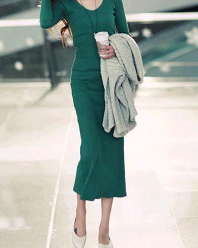 V neck Bodycon Women Cotton Long Sleeve Paneled Plain Casual Dress