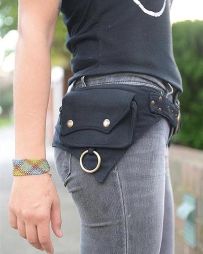Women's Retro Solid Color Multifunctional Storage Belt Bag