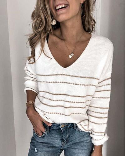 Women's Autumn V-neck Striped Sweater