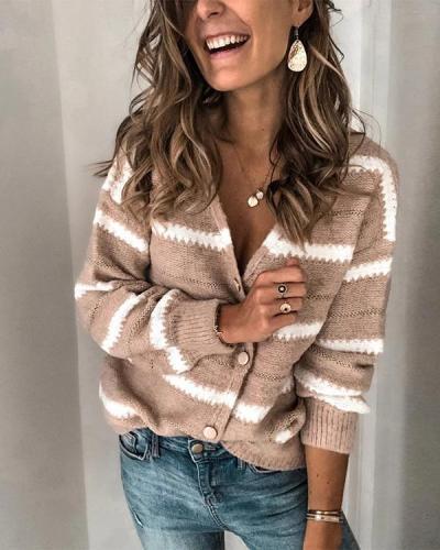Women'S Casual Deep V-Neck Long Sleeve Pattern Loose Sweater Cardigan