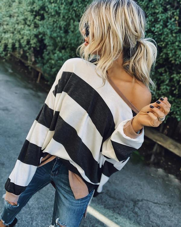 One Shoulder Long Sleeve Casual Stripe T Shirt