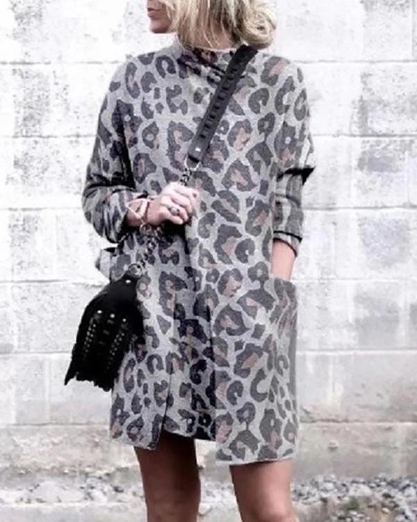 Women's Leopard Printed Turtleneck Dress