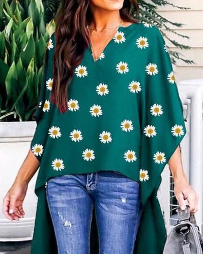 V Neck Floral Shift Half Sleeve Shirts & Tops