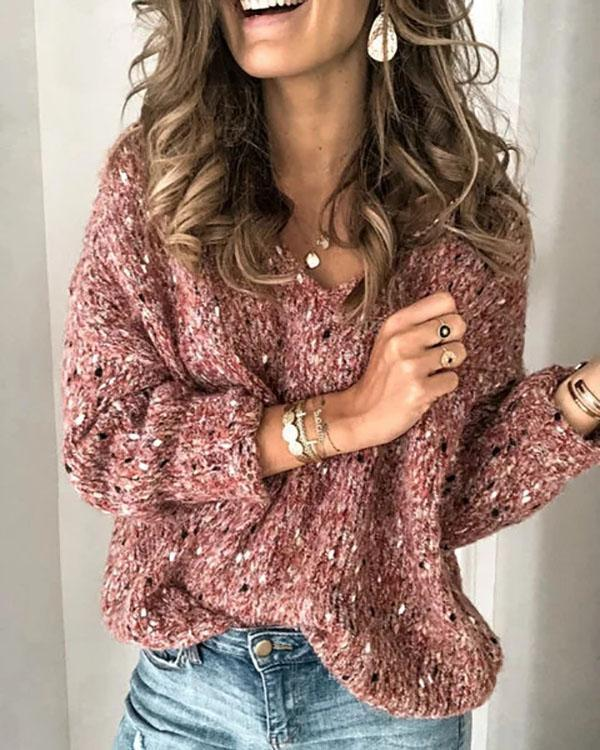 Red V Neck Long Sleeve Sweater