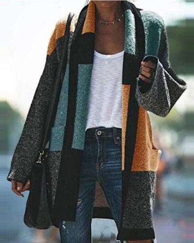 Color-block Boho Shawl Collar Patchwork Outerwear