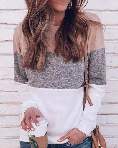 Casual Round Neck Color-clock Long Sleeve Shirt