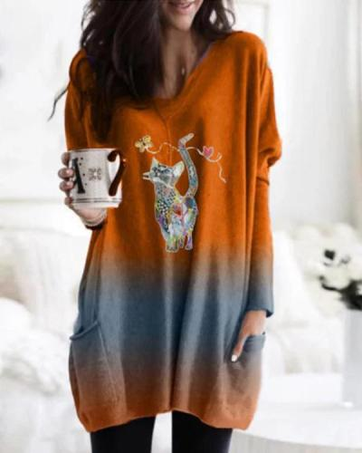 Ombre Cartoon Cat Print Long Sleeve Pockets Casual Blouses Tops