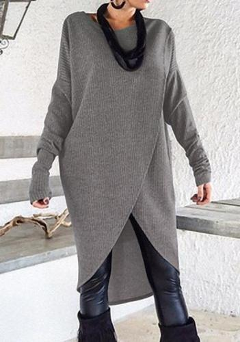 Long Sleeve Cotton Solid Crew Neck Plus Size Sweater