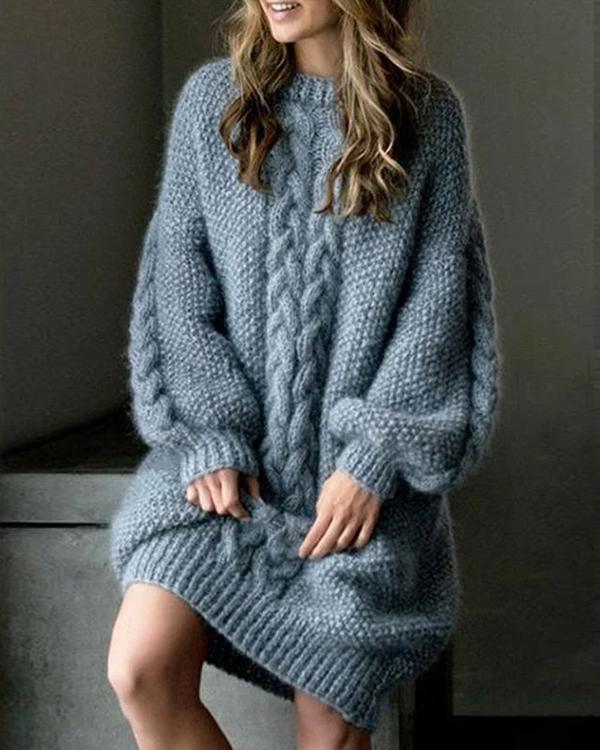 Loose Long Sleeve Sweater Knitted Thickened Dress