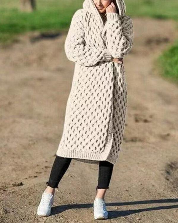 Women's Fashion Winter Warm Long Knit Sweater Hooded Cardigan Coat