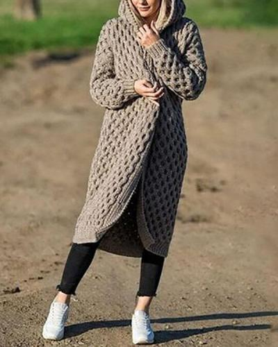 Women's Fashion Winter Warm Long Knit Sweater Hooded Cardigan Coat