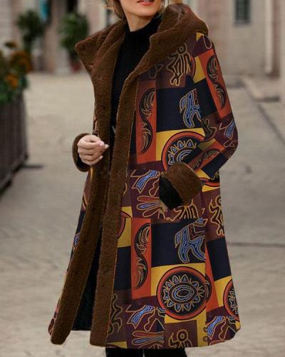 Vintage Print Fleece Hooded Winter Plus Size Long Coat