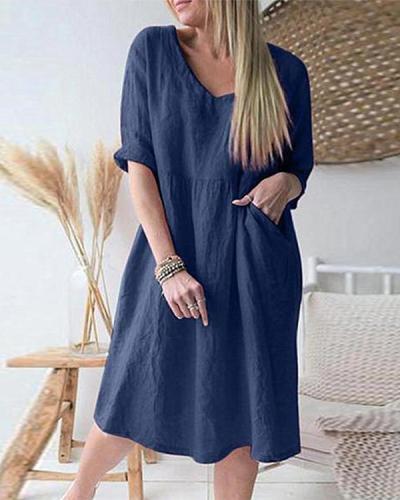 Plus Size Solid Pleated V-neck Half Sleeve Vintage Loose Midi Dress