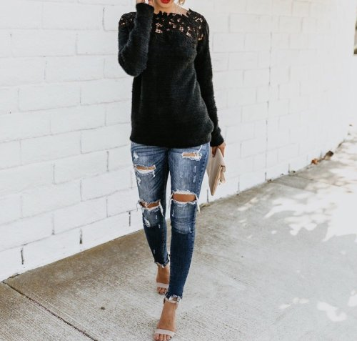 Women Off Shoulder Lace Patchwork Long Sleeve Sweaters Tops