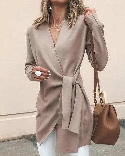 Khaki Cotton Long Sleeve Casual Solid V neck Cardigan