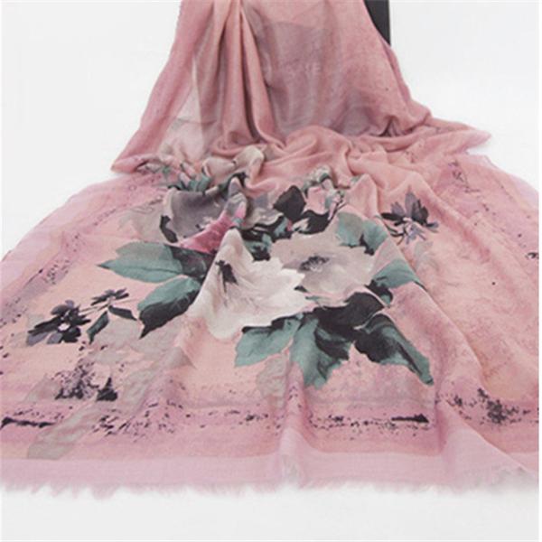 Women Ink Printing Cotton Linen Blend Long Scarf
