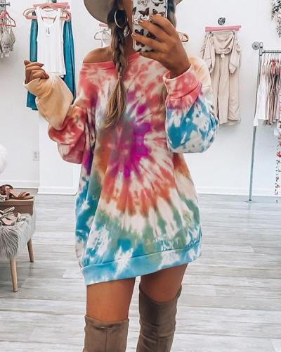 Tie Dye Print Long Sleeve Round Neck Sweatshirt Dress