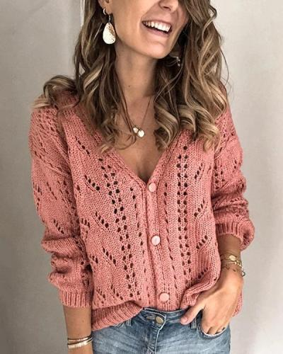 Fashion V-Neck Hollow-Out Button Sweaters