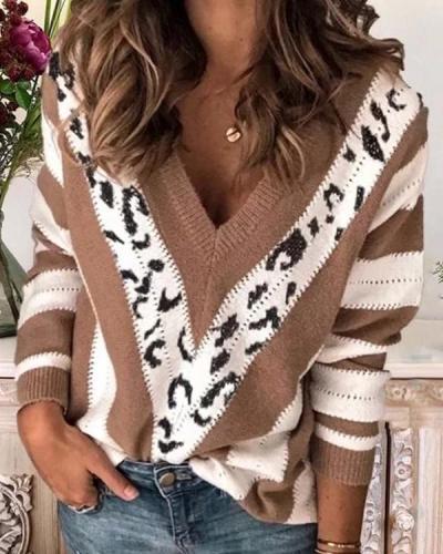 Leopard-Print V-neck Stripes Long Sleeve Casual Sweatshirt