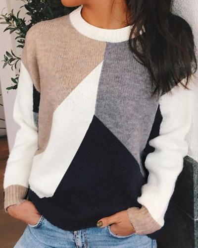 Color-Block Geometric Women's Sweaters