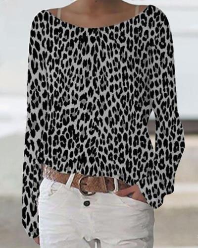 Leopard Print Daytime Crew Neck Long Sleeves T-shirt