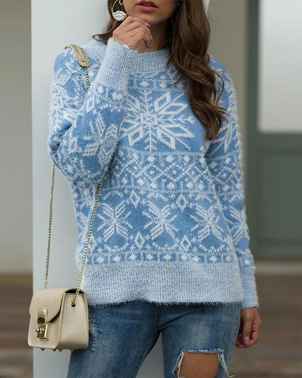 Christmas Style Snowflake Pullover Sweater