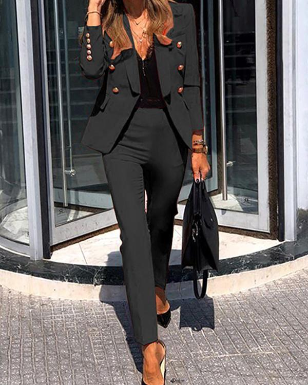 Solid Long Sleeve Lapel Double Breasted Jackets Sets