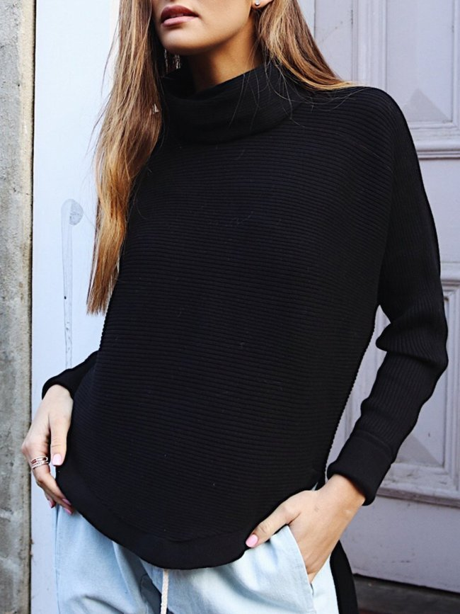 Gray Solid Long Sleeve H-line Cowl Neck Casual Sweater